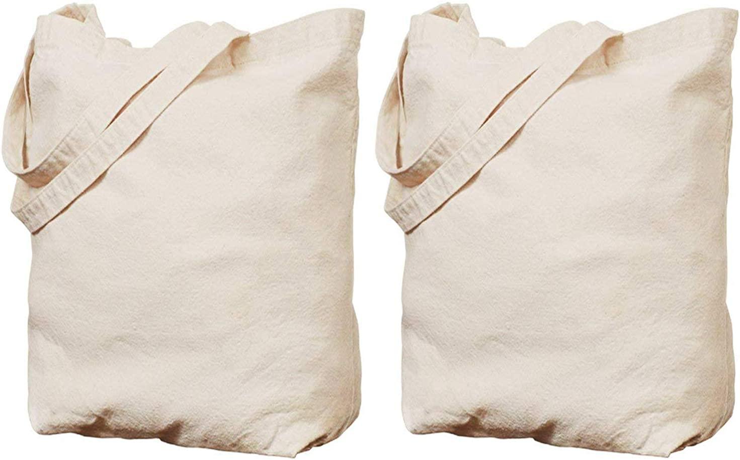 WANBAO 2 Pcs Reusable Canvas Grocery Bags 16 X 16 X 5 Inch Tote Groceries Shopping Bags Bottom Gusset 12 oz White.