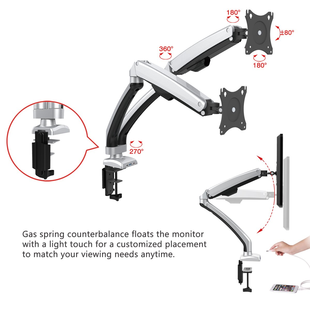 Dual Arm Monitor Mount, Gas Spring Desk Mount Monitor Stand with USB Fits Display Screen 13''-32'' (Aluminum Dual Monitor) by Elevens (Image #3)