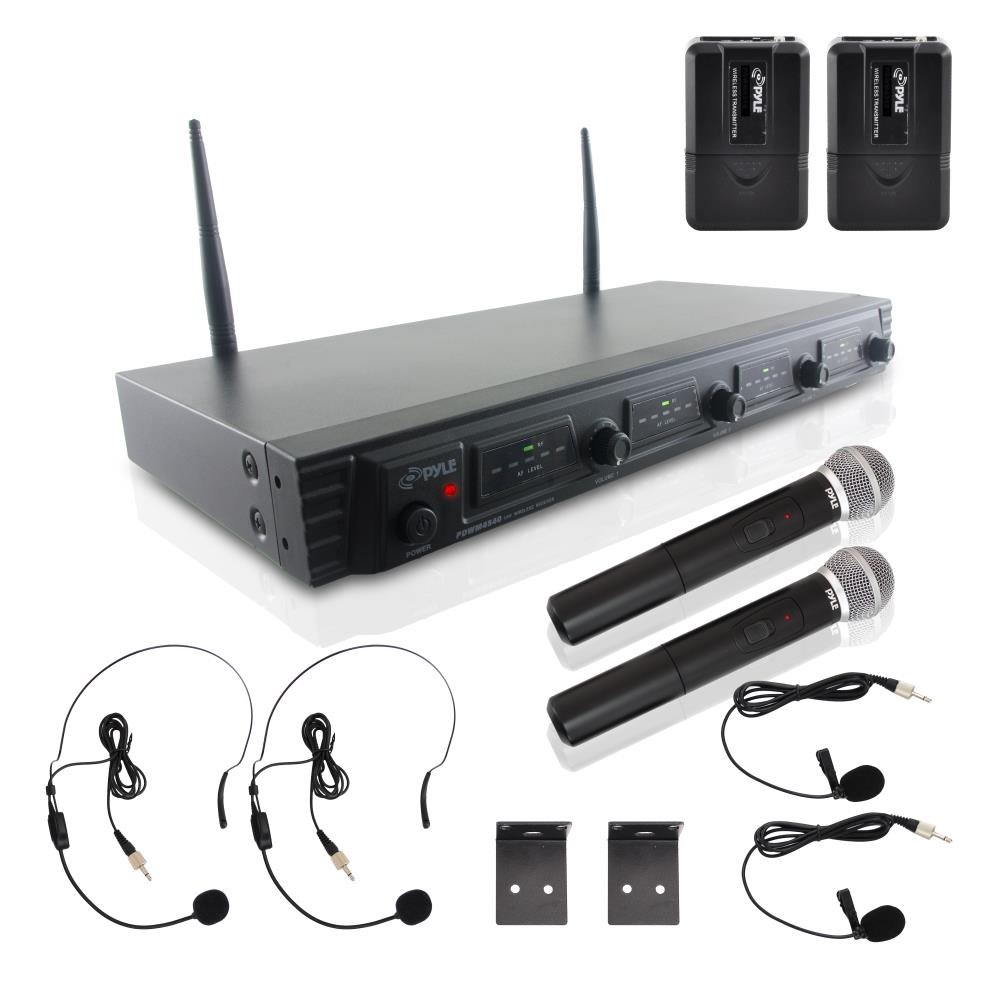 Pyle PDWM4540 Rack Mount 4 Channel UHF Wireless Microphone System, 2 Handheld Microphones, 2 Body-Pack Headset & 2 Lavaliere Mics