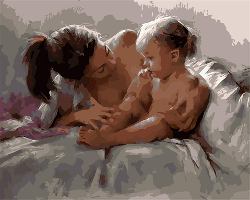 No Frame Paint by Numbers Kits DIY Oil Painting Home Decor Wall Value Gift-Mother and Child 16X20 Inch