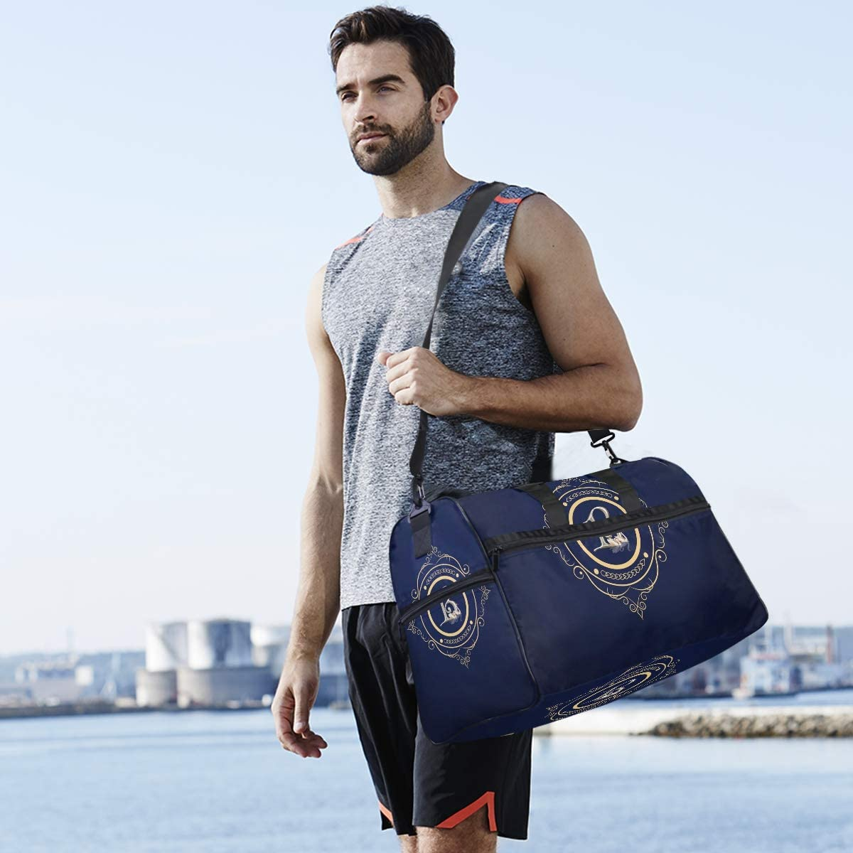 FANTAZIO Monogram B Sports Bag Packable Travel Duffle Bag Lightweight Water Resistant Tear Resistant