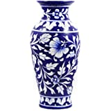 Ceramic Vase Blue Pottery Ceramic Vase Handmade Decorative Flower Pot Ceramic Flower Vase Flower Decoration Desk/Table Decoration Home Office Kitchen Decoration – Height 9 Inch - Original Art Work