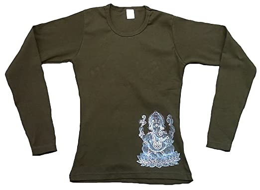 Ticila Damen Langarm T-Shirt STRASS Grün Popular Hindu Deity God Lord  GANESH GANESHA Trance