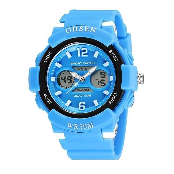 relojes digitales de moda fresco del deporte al aire libre para adolescentes llevado de múltiples correa de caucho de color azul claro: Amazon.es: Relojes