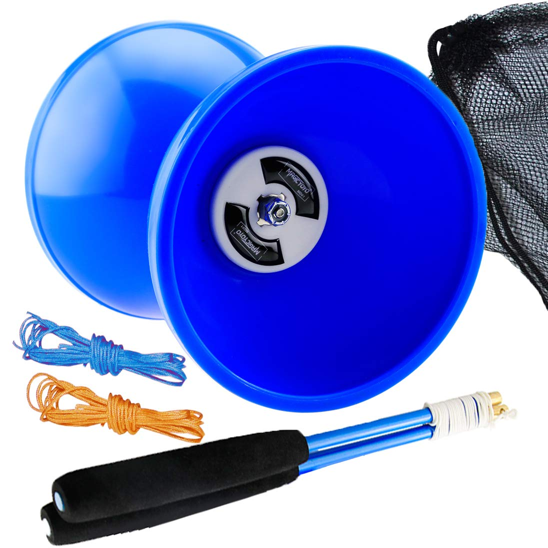 MAGICYOYO Pro Triple Bearing Medium 5'' Blue Chinese Yoyo Diabolo Toy with Carbon Sticks+1 Net Bag + 2 Extra Strings, High Performance Chinese Yoyo Diabolo Skill Toy by MAGICYOYO