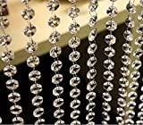HoHoDeal 33 Feet Acrylic Crystal Garland Hanging Diamond Chandelier Wedding Party Table Decoration