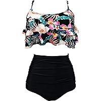 AOQUSSQOA Women Swimsuit High Waist Flounce Bikini Set Halter Ladies Swimming Costume Beach Bathing Swimwear