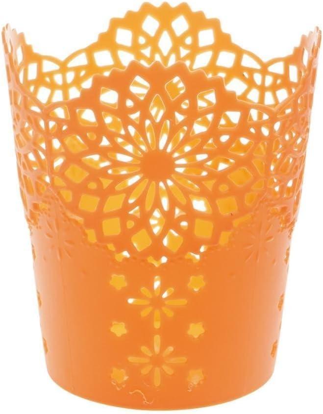 Orange CAOLATOR Creux Fleur Rond Pot /à Crayon Plastique Vase Crayons Multifonction Porte-Crayons Pour Maison Bureau D/écoration