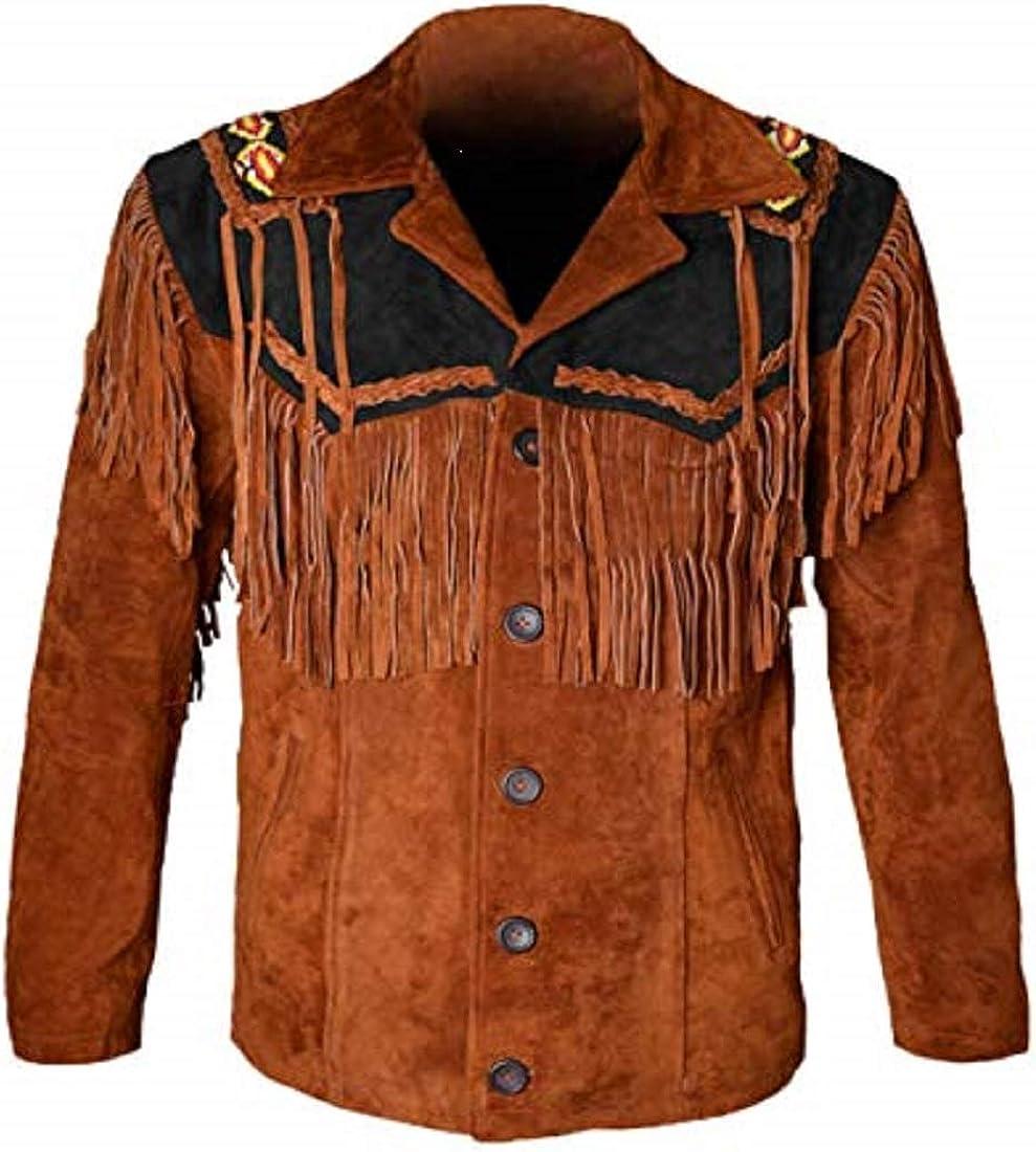 LEATHERAY Western Chaquetas de cuero para hombres de vaquero chaqueta de cuero y flecos con cuentas de gamuza camisa de cuero