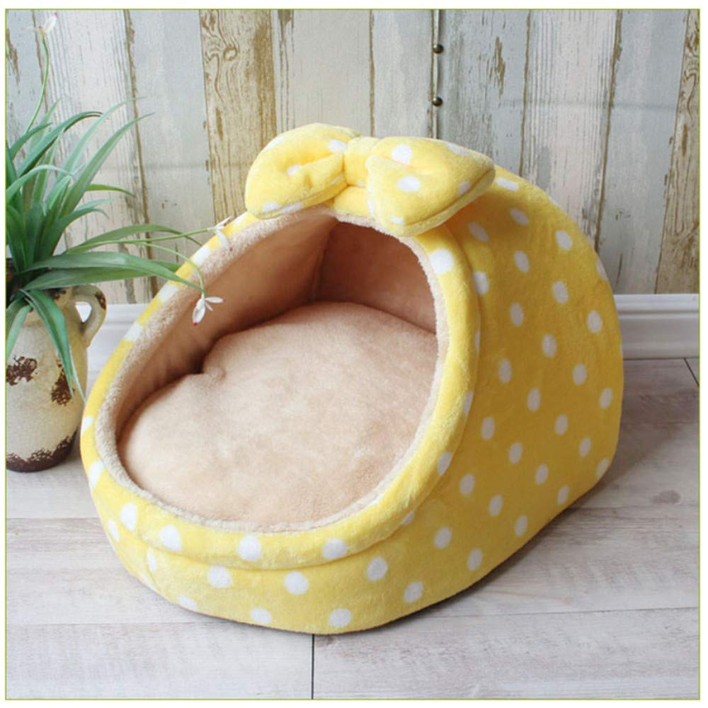 L Wuwenw Pet Bed Dog House Kennel Puppy Warm Cushion Basket Suitable For Small And Medium Dogs Fashion Strawberry Cave Cat Tent Puppy Nest Yellow,L