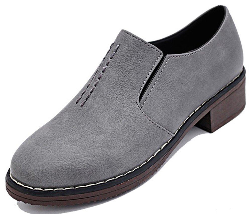 IDIFU Women's Comfy Low Chunky Heel Slip On Oxfords Flat Low Top Round Toe Sneakers Gray 7.5 B(M) US