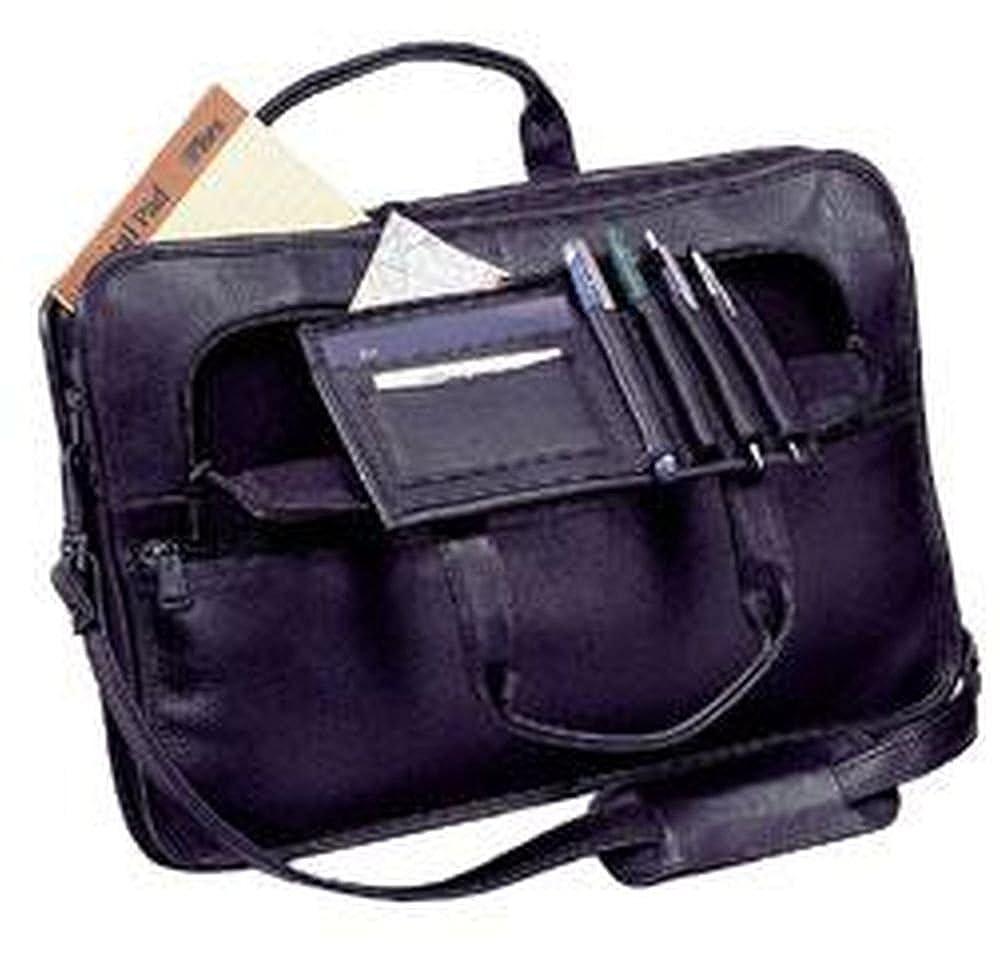 Cowhide Leather Slim Briefcase with Organizer Color Black