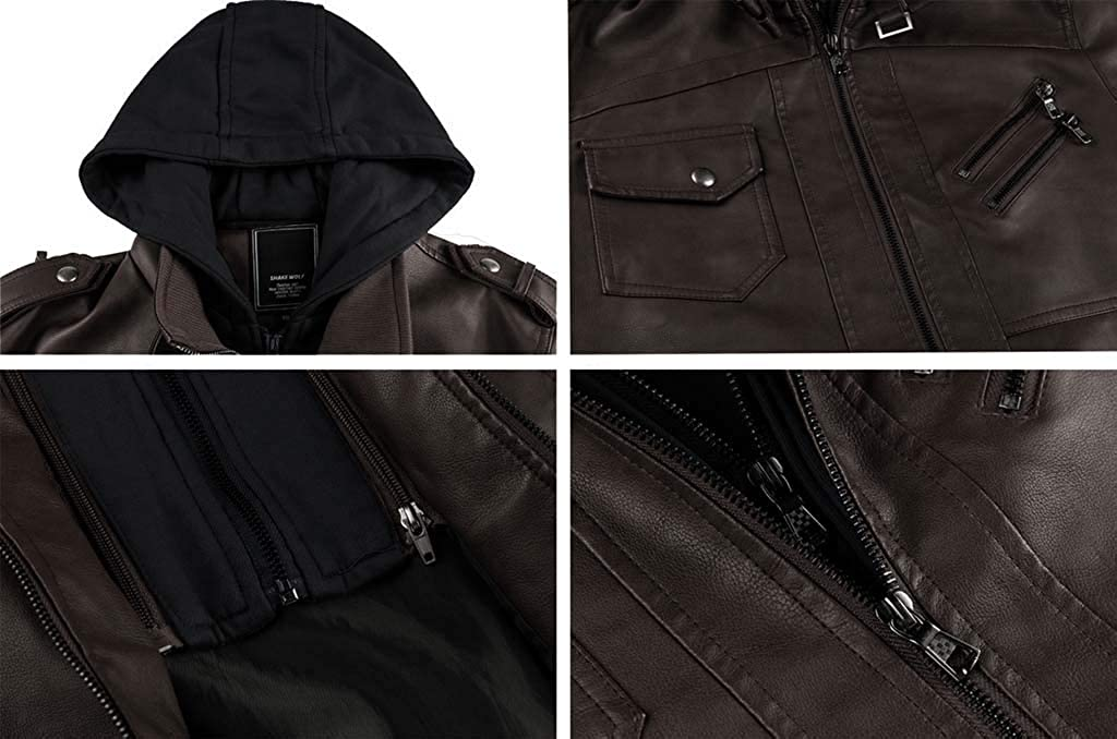 CRYSULLY Mens Leather Jacket-Fall Winter Vintage Motorcycle Biker Jacket with Removable Hood