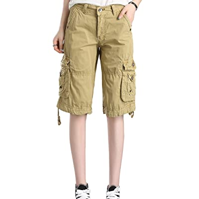 HOW'ON Women's Casual Loose Fit Twill Bermuda Cargo Shorts Multi Pocket Straight Shorts | Amazon.com