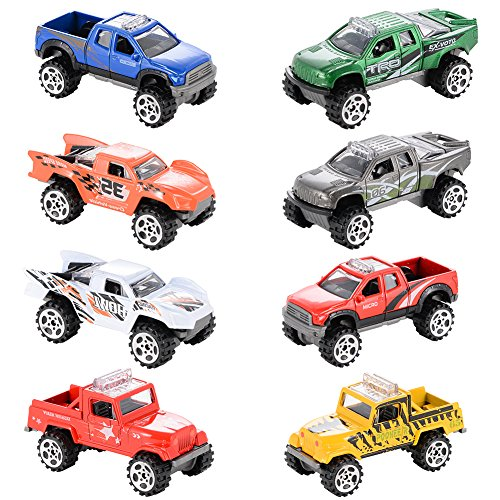 Metal Diecast Vehicle - ThinkMax 1/64 Scale Mini Off Road Diecast Metal Cars Friction Powered Cars Vehicle Playset(8 Pieces)