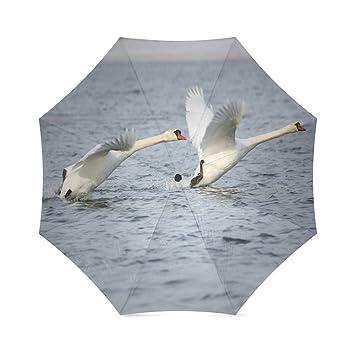 Swan de blancos personalizado resistente al viento resistente al agua plegable paraguas de viaje compacto