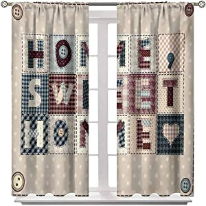 Blackout Curtain Home Sweet Home Light Blocking Curtains Patchwork Style Composition with Letters on Retro Polka Dots Buttons Print Bedroom and Living Room Curtains 2 Rod Pocket Panels 52