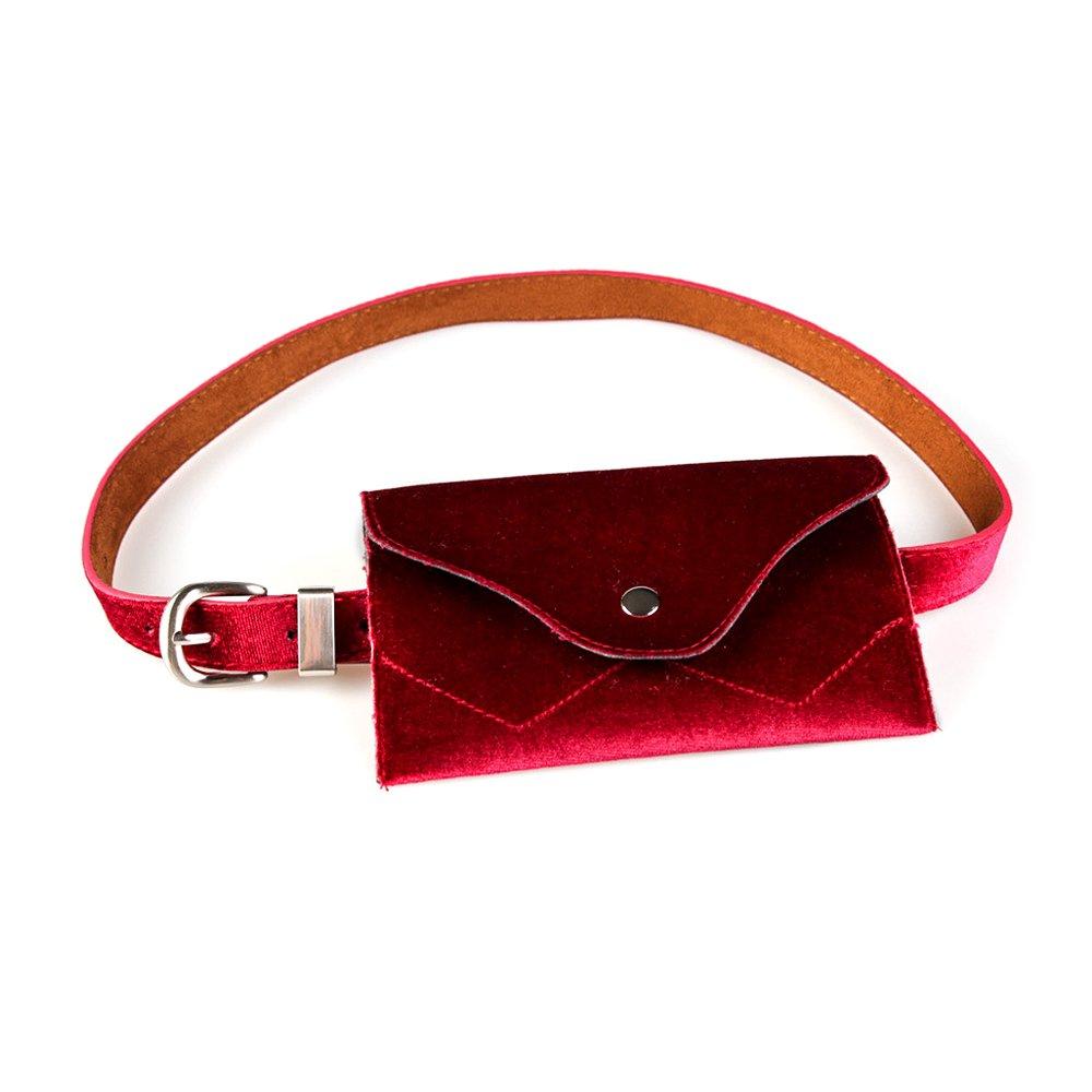 Ya Jin Women's Velvet Fanny Pack Ajustable Waistband Removable Mini Wallet Pouch Travel Cell Phone Bag