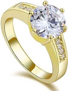 خاتم نسائي مطلي ذهب أصفر مع حجر الزركون والكريستال مقاس أمريكي 7