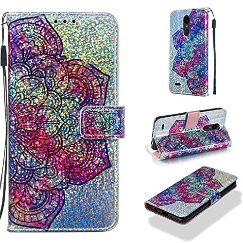 Case for LG Aristo 2/K8 2018/Aristo 2 Plus/Lg Lv3 2018,Glitter PU Leather Wallet Case with Magnetic Kickstand Case Card Holder Compatible with LG Aristo 2/K8 2018/Aristo 2 Plus/Lg Lv3 2018 -Flower