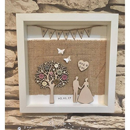 Special Thoughtful Wedding Present Idea Personalised Just Married Box Frame Wedding Gift