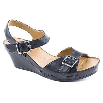 8688324039335 Ladies Clarks Rusty Art Black Wedge Sandals Size 8  Amazon.co.uk ...