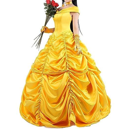 Vestido de princesa amarilla, Disfraz de cosplay, Conjunto personalizado para adultos, Vestidos fantasía para Halloween: Amazon.es: Ropa y accesorios