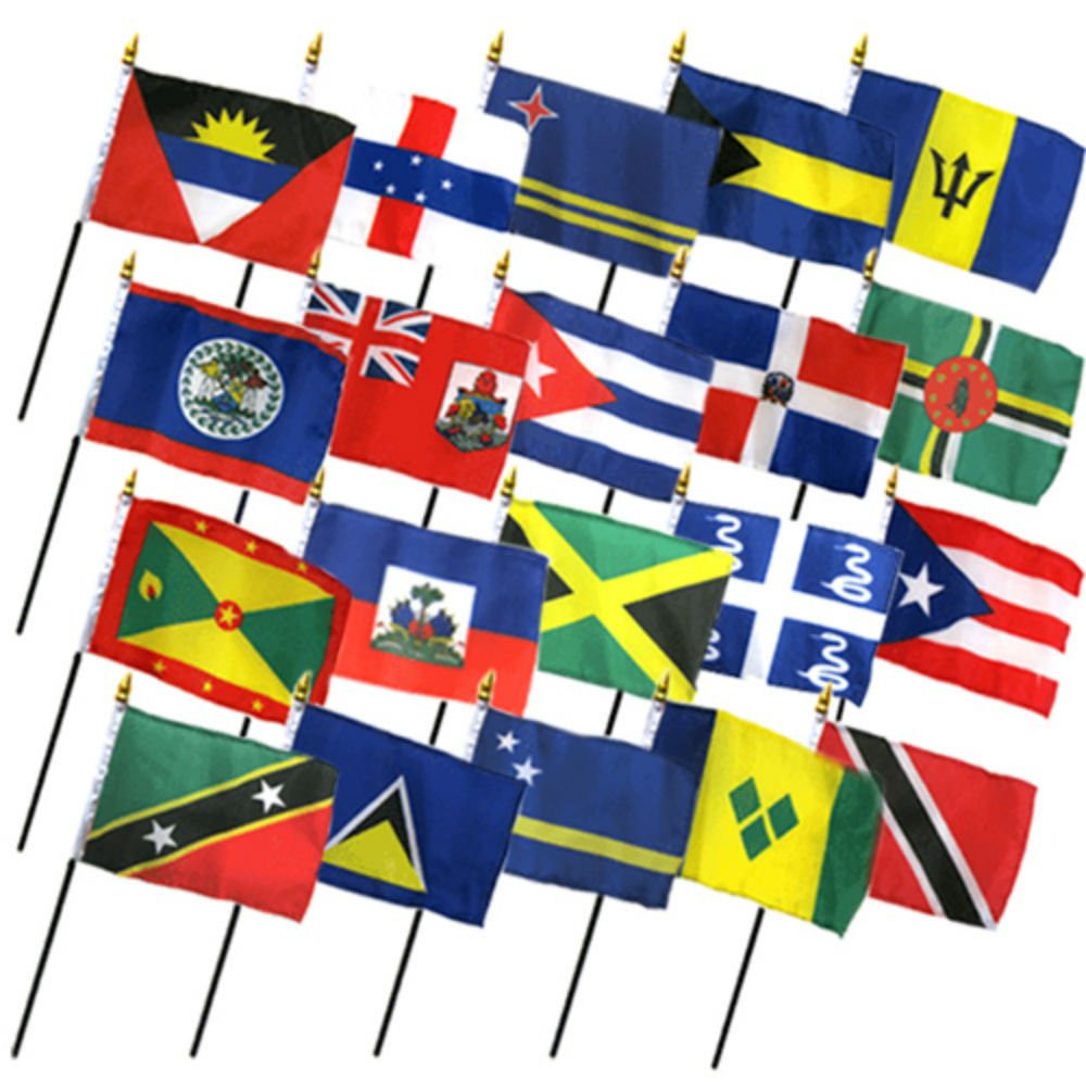 Set of 20 Caribbean Countries 4''x6'' Desk Table Stick Flag (No Bases)