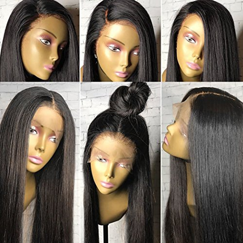 Human Hair Wigs Lace Front Wigs for Women Yaki Straight Brazilian Human Hair Wigs with Baby Hair Brazilian Virgin Human Hair Lace Wigs Black Wig Straight Human Hair Wigs 22 inch Natural Black Color by Prime Kitty