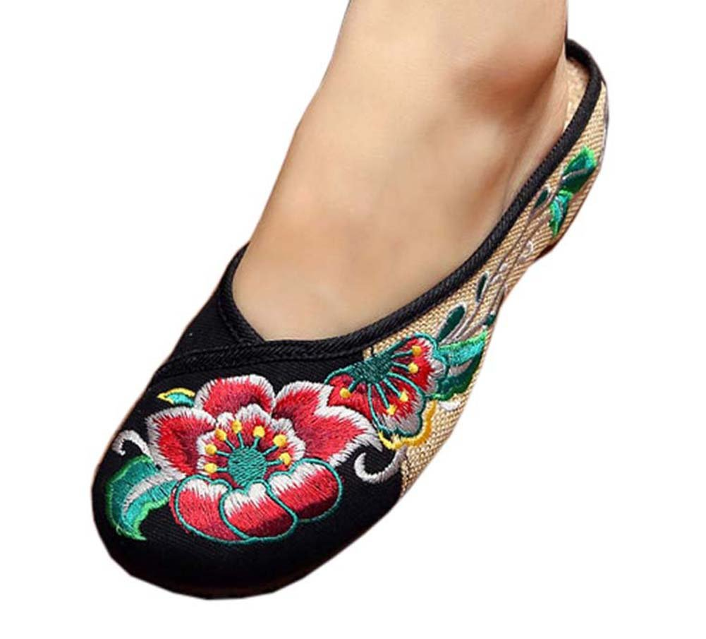 Womens Embroidered Summer Slippers Wedges Sandals Shoes for Cheongsam, 11