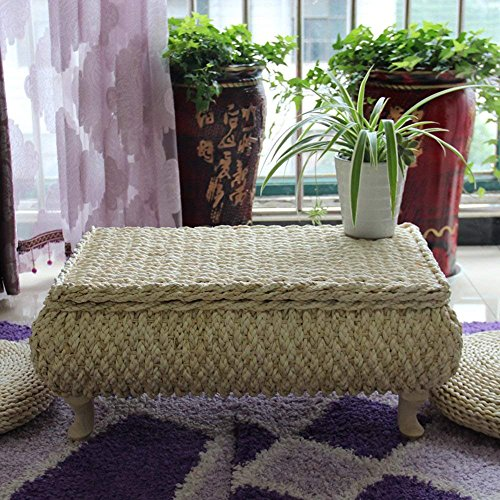 HUAWELL Japanese Style Handcrafted Eco-Friendly Breathable Padded Knitted Tea Table + 2 Seat Floor Cushions Set,Hand Woven Tatami Coffee Table and Floor Cushion Size (68(L) x45(W) x30(H) cm)