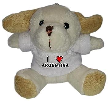 Perro de peluche (llavero) con Amo Argentina en la camiseta ...