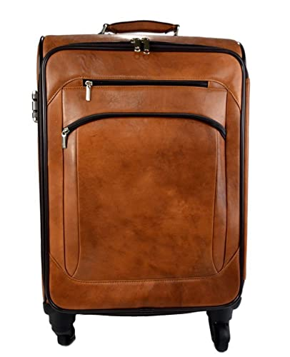 2488abaecadd Amazon.com  Leather trolley travel bag weekender overnight light brown  leather bag with four wheels leather cabin luggage airplane carryon  airplane bag  ...