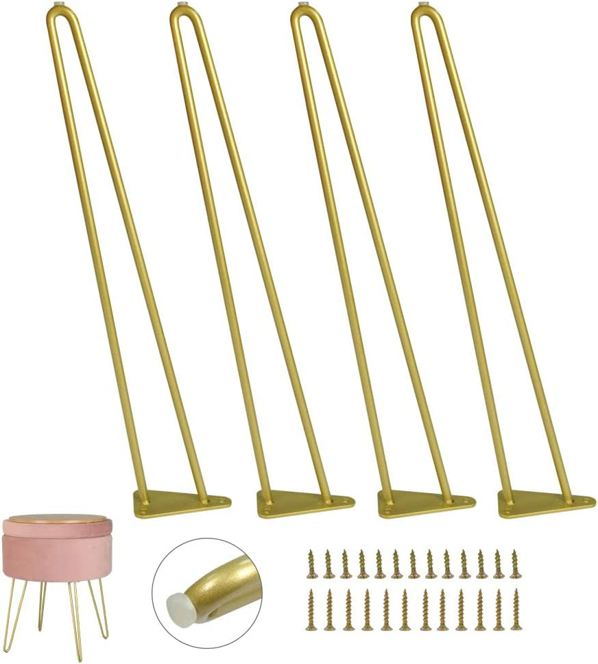 Hairpin Furniture Legs with Built-in Floor Protectors 16 Inches Gold End Table Chair Leg 4PCS DIY Projects for Home