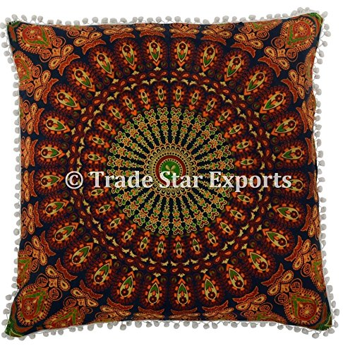(26 X 26 Mandala Euro Sham, Indian ethnic Pillow Case, Hippie Cushion Cover with Pom Pom Lace, Bohemian Throw Pillow Cases, Large Cushion Covers for Couch (Pattern 14))