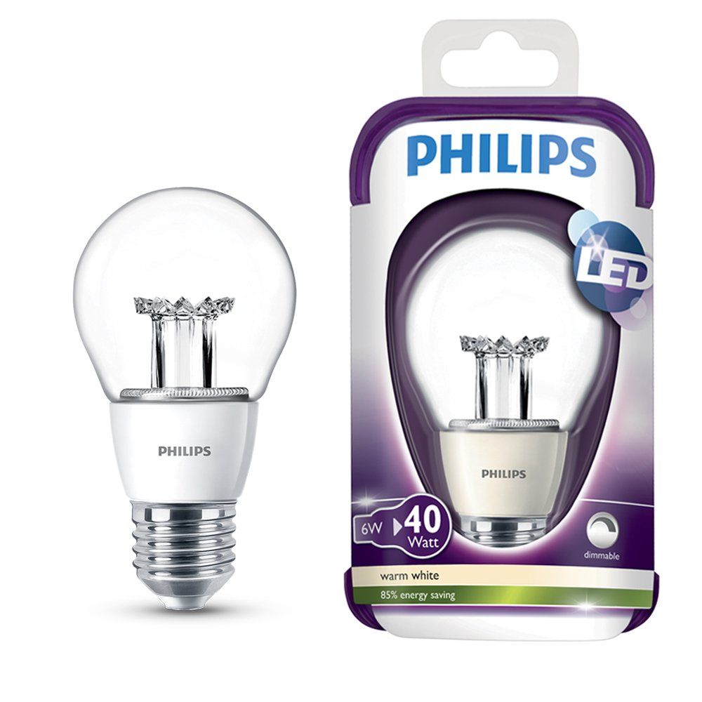 Pack of 4 Philips 6w Dimmable ES E27 LED GLS Light Bulbs 2700K Warm White