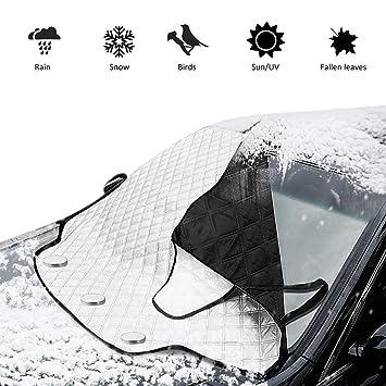 TUPSKY Cubierta de Nieve para Parabrisas de Coche, Cubierta para Eliminar el Hielo, Parasol de Invierno con Bordes magnéticos, Detiene los arañazos con un ...