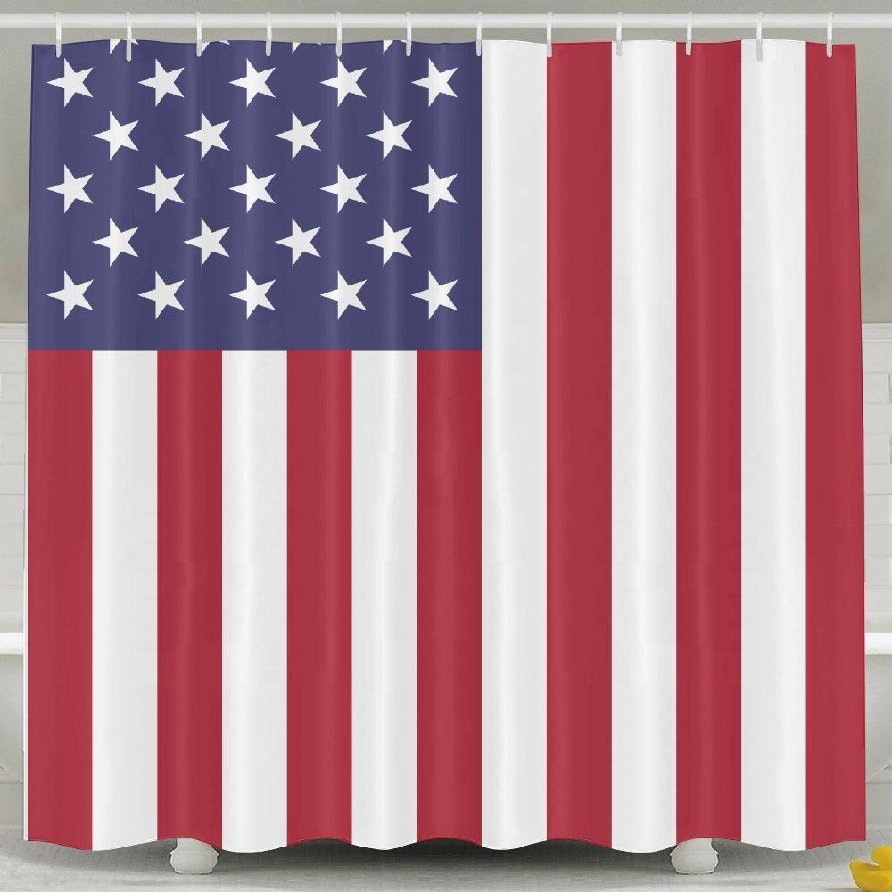 BINGO FLAG Funny Fabric Shower Curtain United States Flag Waterproof Bathroom Decor With Hooks 60 X 72 Inch