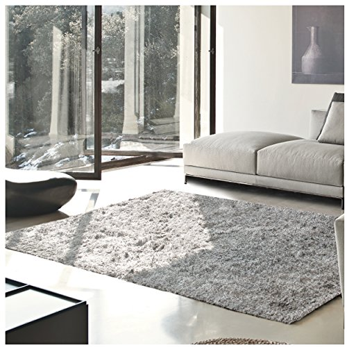 Superior Elegant Shag Rug, Plush and Cozy Hand Tufted Area Rugs, Chic and Contemporary Eyelash Shag Rug with Cotton Backing - 4' x 6' Rug, Silver (Canvas Living Room Table)