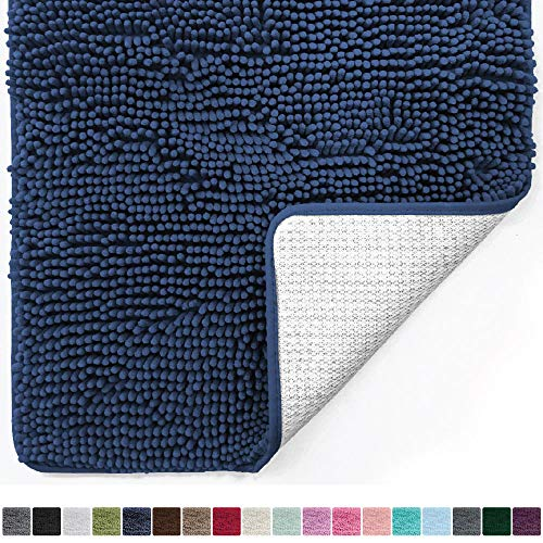 Gorilla Grip Original Luxury Chenille Bathroom Rug Mat (60 x 24), Extra Soft and Absorbent Shaggy Rugs, Machine Wash/Dry, Perfect Plush Carpet Mats for Tub, Shower, and Bath Room (Navy Blue)