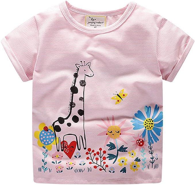 Conquro Camiseta de niña Jirafa Estampada Verano Animal Print Ropa ...