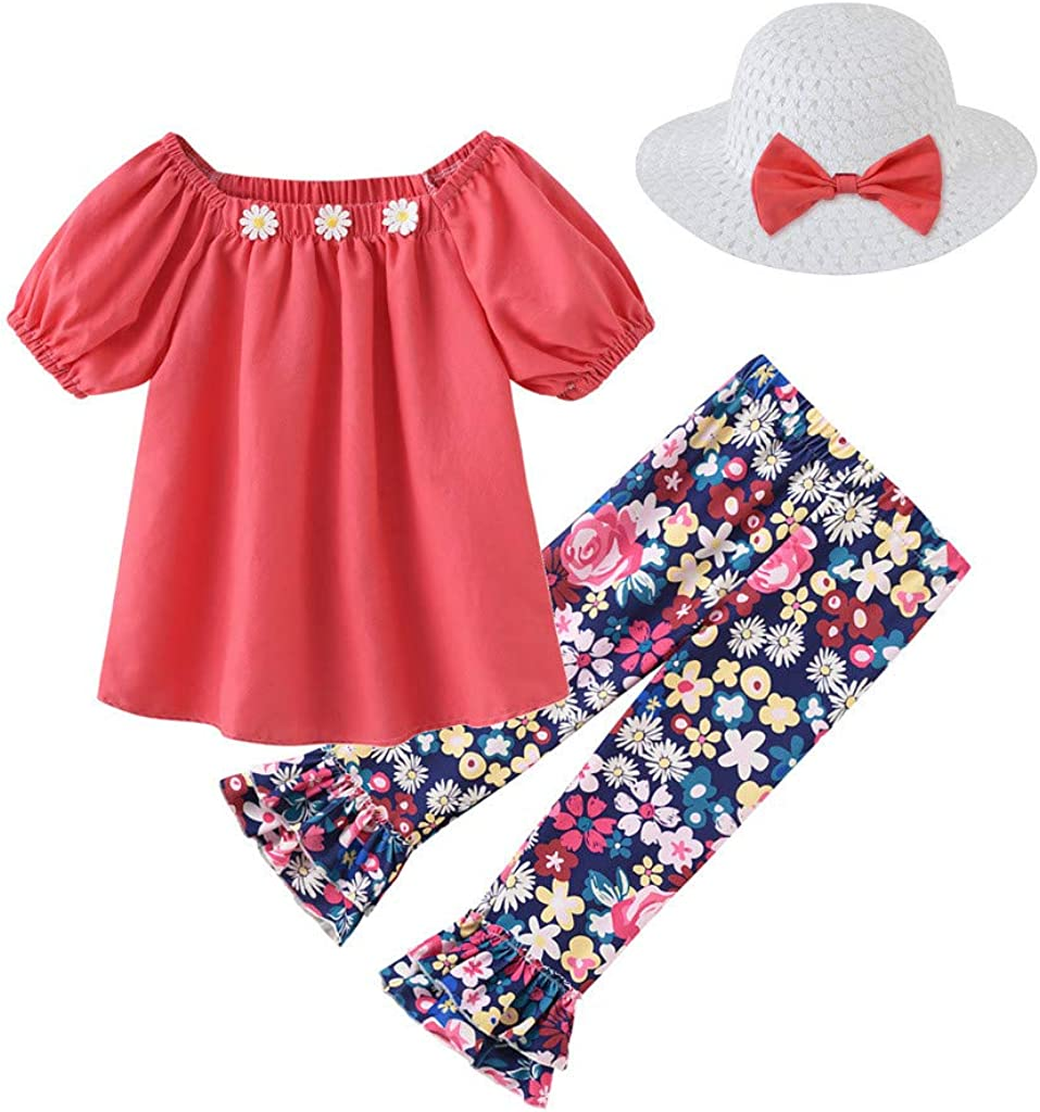 Shimigy Toddler Baby Kids Girls Floral Tops T-Shirt Princess Pants Straw Hat Outfits