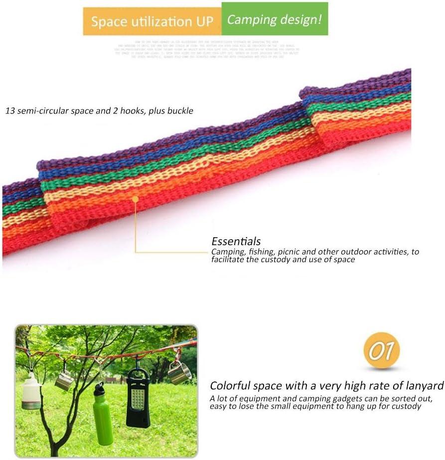 de Aolvo cuerda colorida para colgar acampada accesorios para tiendas de campana uso al aire libre Cuerda de almacenamiento para acampadas