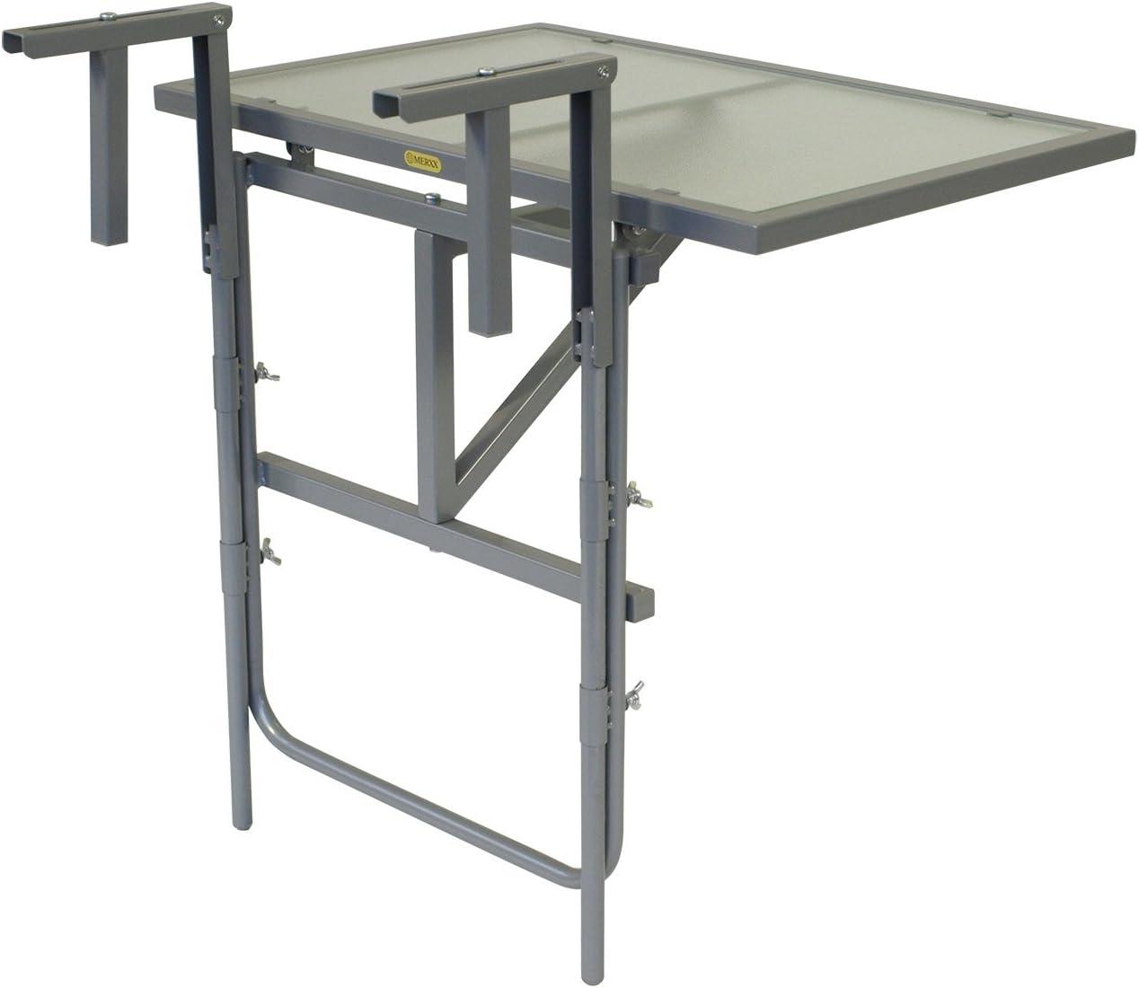 3-fach h/öhenverstellbarer Klapptisch Tischplatte B x T: 60 x 40 cm braun Relaxdays Balkonh/ängetisch BASTIAN klappbar