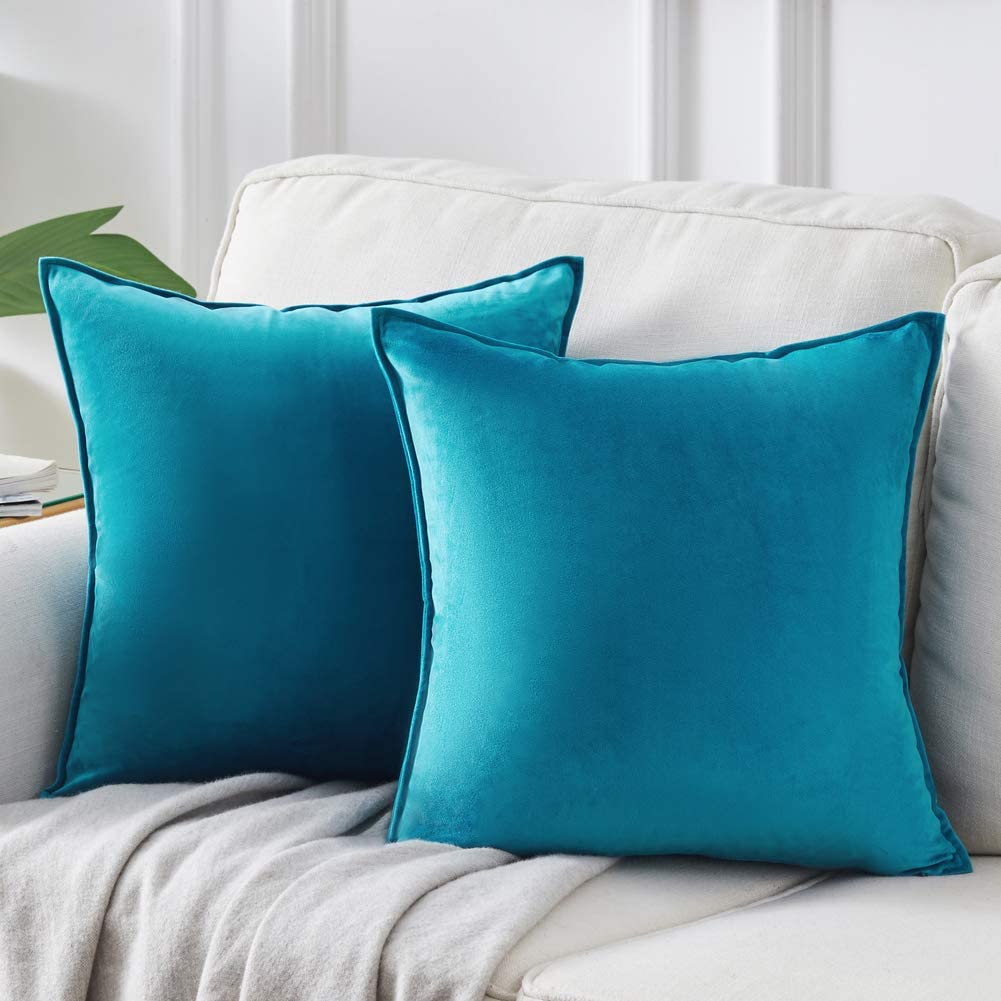 Andaot Pack of 2 Velvet Decorative Throw Pillow Covers 18x18 Inch for Couch, Soft Soild Square Cushion Case Set for Sofa Bedroom Car Outdoor Cushion Pillow Cases(Royal Blue)