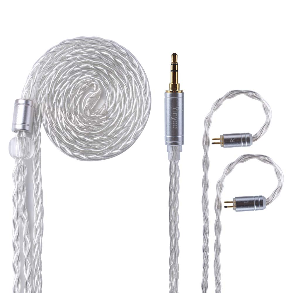 Yinyoo 8 Core Silver Plated Balanced Headphone Cable Earphone Replacement Cable With 3.5mm Plug & 2Pins 0.78mm Connector Cable for Earphones KZ AS10 ZS4 ZS5 ZS6 ZS10 ES4 ZST ZSR ED16 V80 V20(2pin 3.5)