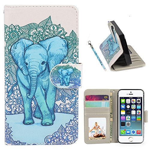 iPhone 5S Case, Speedtek Elephant Pattern Premium PU Leather Wallet Flip Protective Skin Case with Magnetic Closure for Apple iPhone 5 5G (2012) & iPhone 5S (2013) ()
