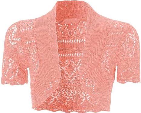 76b9fdde3c2 Uptown Girl Women's Crochet Front Open Short Sleeve Knitted Bolero Cropped  Cardigan Shrug