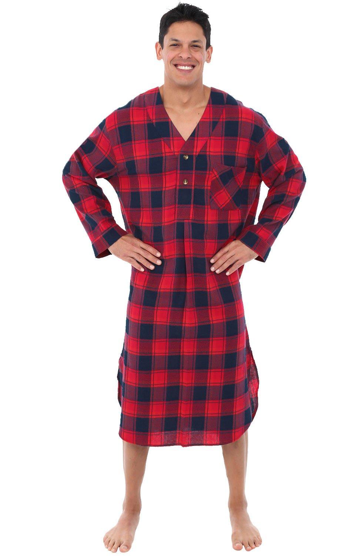 Alexander Del Rossa Mens Flannel Nightshirt, Long Lightweight Cotton Kaftan, Medium Red and Navy Plaid (A0548Q34MD)