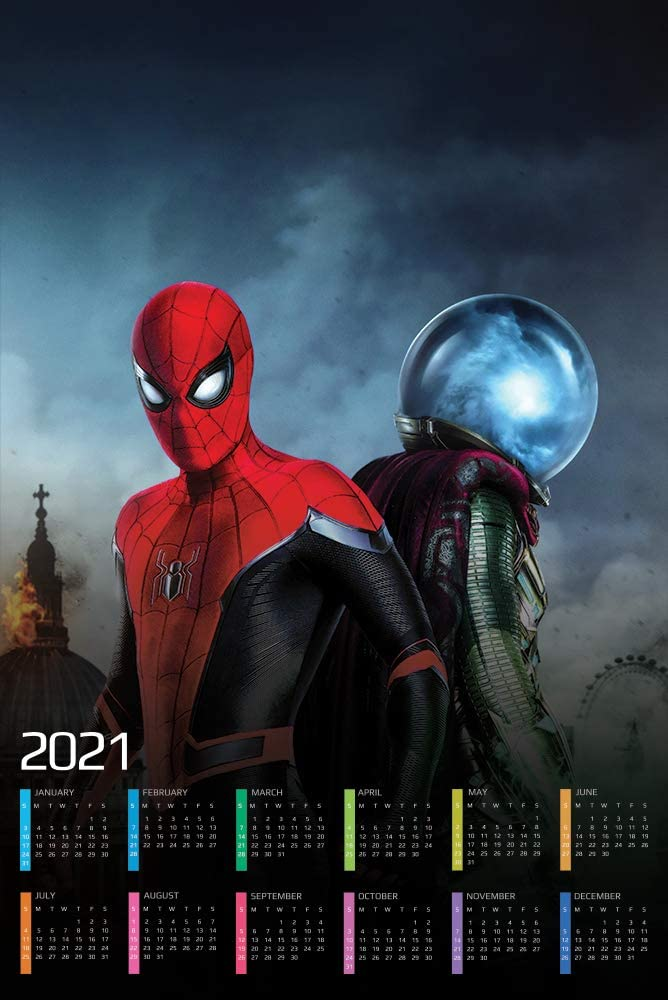 Spider Man Far from Home Calendar 2021 Movie Poster Wall Decor - 17'' X 25''